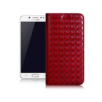 Xmart 三星 Samsung Galaxy J7 Pro 魔幻編織磁吸支架皮...