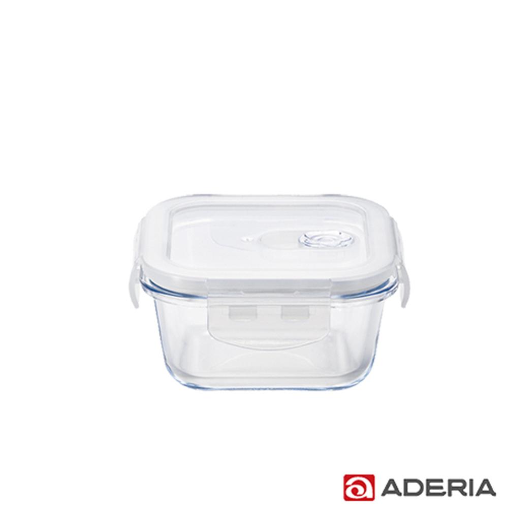 【ADERIA】日本進口耐熱玻璃扣式保鮮盒300ml(方型款)