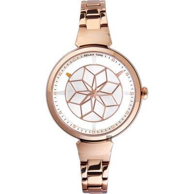 RELAX TIME RT 63  綻放光彩女人腕錶-銀x玫塊金/ 36 mm