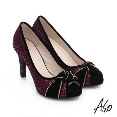A.S.O 璀璨注目 蕾絲緞布絨面魚口高跟鞋 正紅