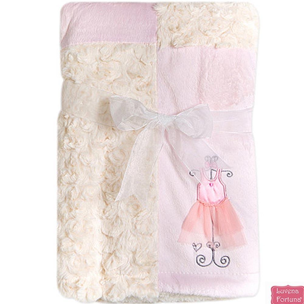 LILY & JACK 英國 粉白芭蕾款雙色異材質嬰兒毯 冷氣毯 蓋毯