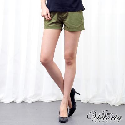 Victoria 綁帶褲口反摺短褲-女-軍綠