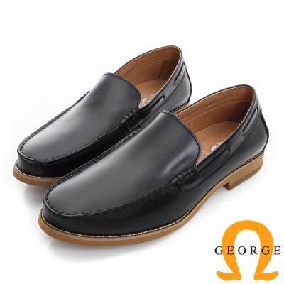 GEORGE 喬治-素面縫線真皮樂福休閒鞋-黑色