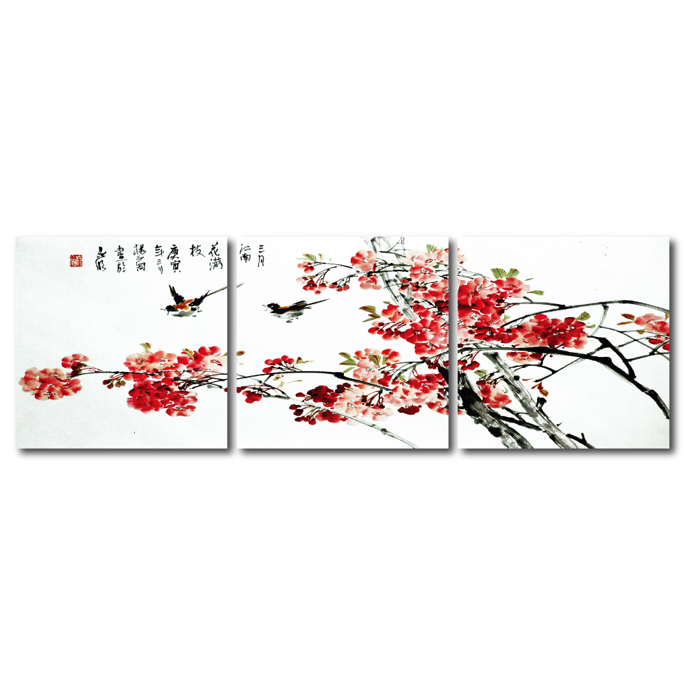 24mama掛畫- 三聯無框圖畫藝術家飾品 - 燕侶鶯儔40*40cm
