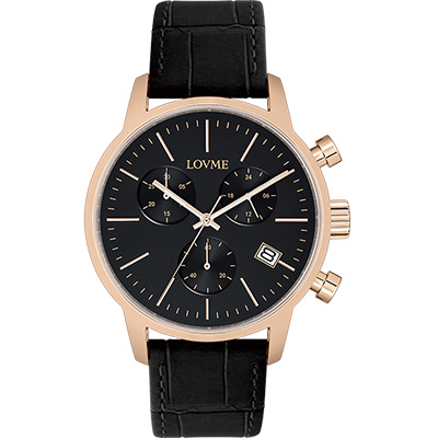 LOVME 城市獵人個性時尚手錶-IP玫x黑/43mm