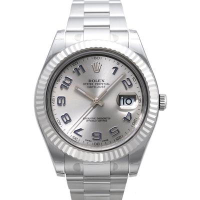 ROLEX 勞力士 116334 Date-Just 經典銀面阿拉伯字腕錶-41mm