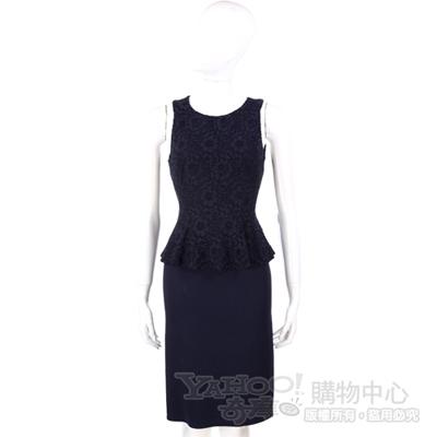 NINA 深藍色蕾絲拼接設計無袖洋裝 @ Y!購物