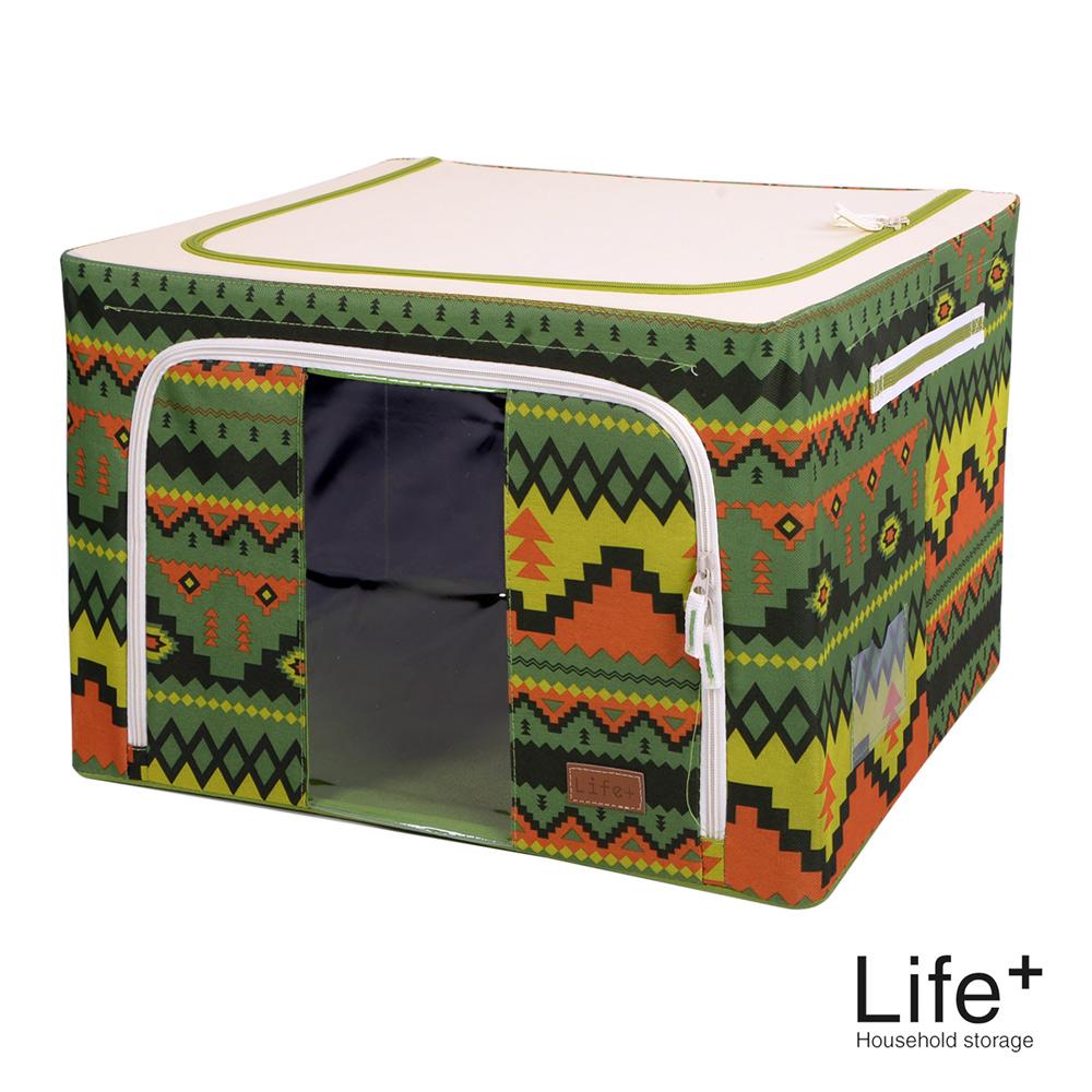 Life Plus 民族風個性圖騰鋼骨收納箱-66L(草綠)
