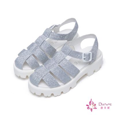 達芙妮DAPHNE-璀璨羅馬魚骨方釦休閒厚底鞋-前