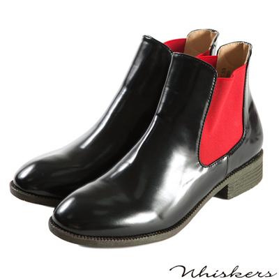 Whiskers-防潑水亮面拼接鬆緊短靴-紅色
