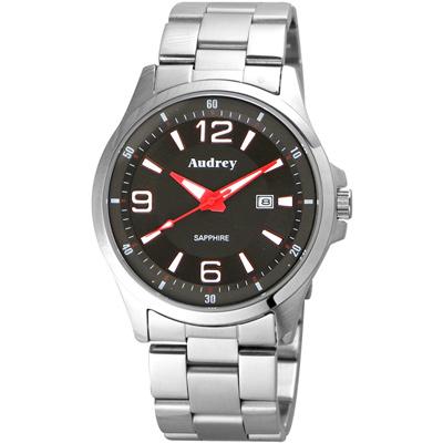 Audrey 歐德利 薄型設計紳士腕錶(AUM2593)-黑x紅指針/42mm