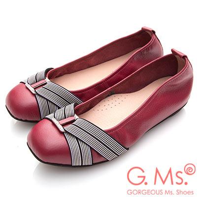G.Ms. MIT系列-牛皮方頭鬆緊帶鑽飾娃娃鞋-紅色