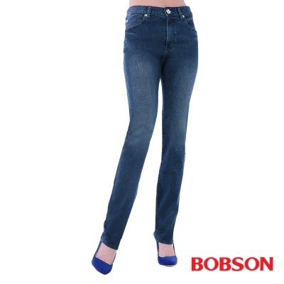 BOBSON   女款高腰膠原蛋白美肌直筒褲-深藍