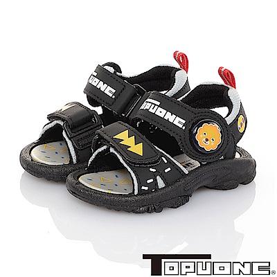 TOPUONE 輕量減壓運動休閒電燈涼鞋童鞋-黑