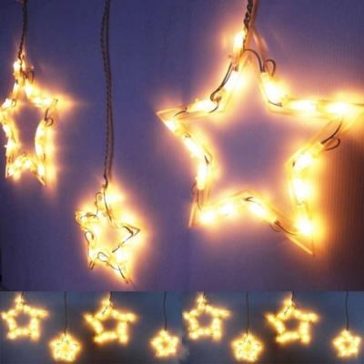 LED燈100燈大小星星冰條燈聖誕燈(暖白光)(附控制器)(高亮度環保)