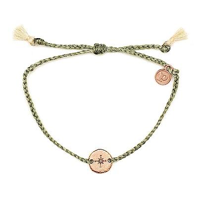 Pura Vida 美國手工 玫瑰金指南針墜飾流蘇 草綠色臘線衝浪手鍊手環