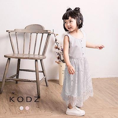 東京著衣KODZ酷琪琪聯名小清新蕾絲拼接背心洋裝-童-S.M.L(共二色)