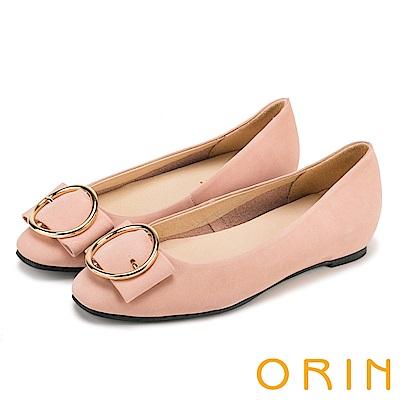 ORIN 甜美素雅 牛皮金屬圓型釦環平底娃娃鞋-粉紅