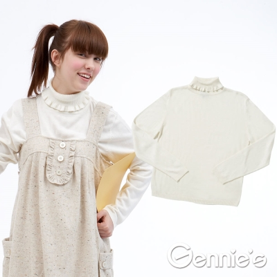Gennie-s奇妮-010系列- 典雅荷葉領素面秋冬孕婦上衣 (TSR21)-米