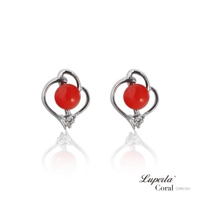 【大東山珠寶】全紅珊瑚純銀耳環 好事成雙