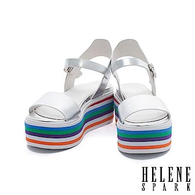 涼鞋 HELENE SPARK 活潑一字帶多彩層次厚底牛皮繫帶涼鞋-銀