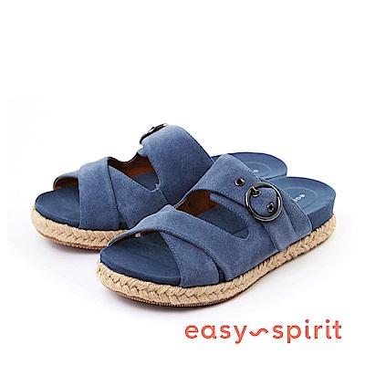 Easy Spirit--麂皮寬版交叉草編厚底涼鞋-質感藍