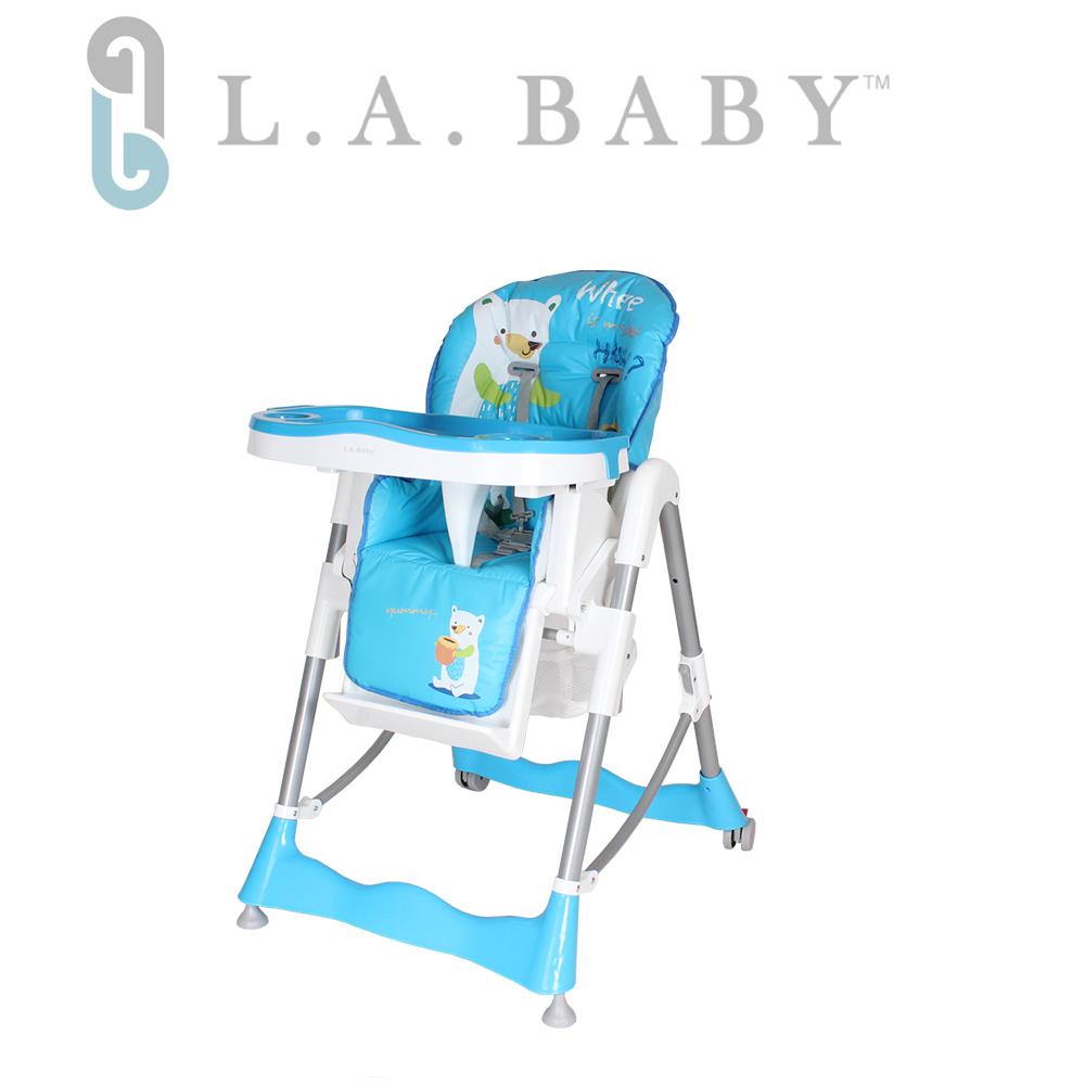 美國 L.A. Baby 多功能高腳餐椅 腳踏不可調款(3色選購黃色、藍色、綠色)