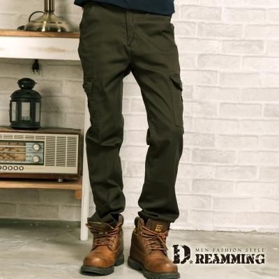 Dreamming 繡線圖騰立體側袋伸縮休閒長褲-軍綠