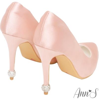Ann'S名媛氣質-後跟閃耀圓球鑽飾緞面尖頭高跟鞋-粉