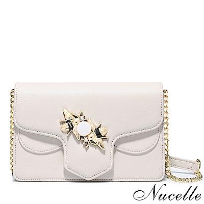 Nucelle 祕密花園蜜蜂飾釦鍊帶包 象牙白