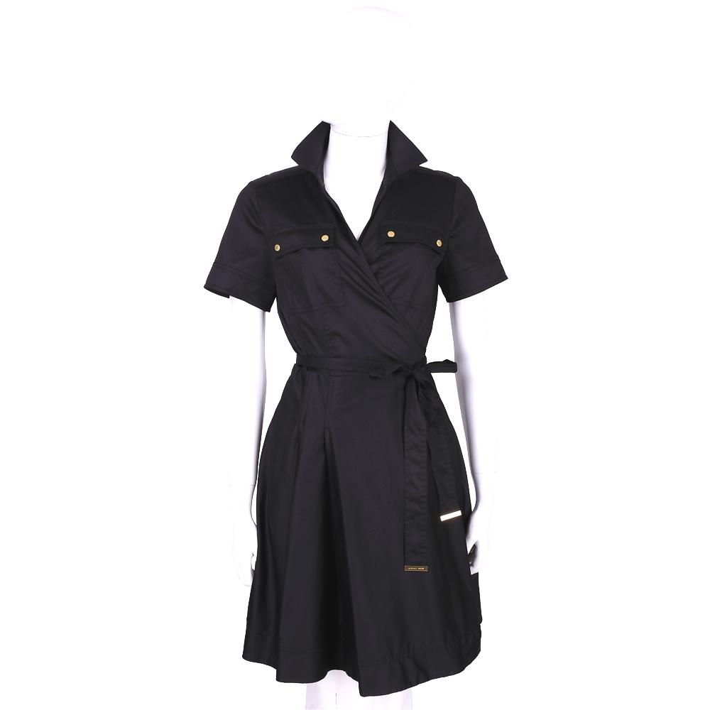 MICHAEL KORS 黑色綁帶風衣式短袖洋裝