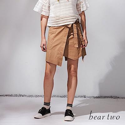 beartwo 側綁結寬口袋造型片裙(二色)-動態show