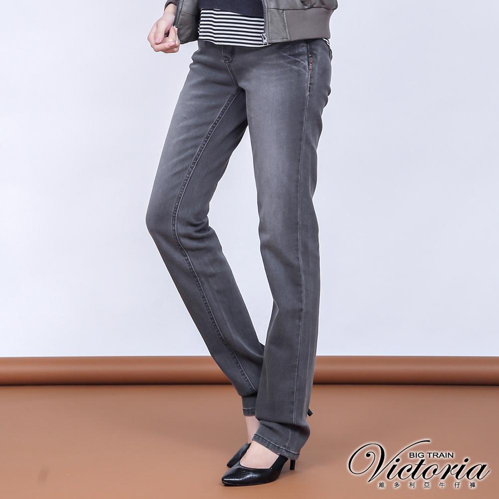 Victoria 豹紋鑽中高腰小直筒褲-女-灰