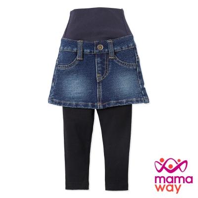 Mamaway Baby針織牛仔裙+褲(刷白藍)