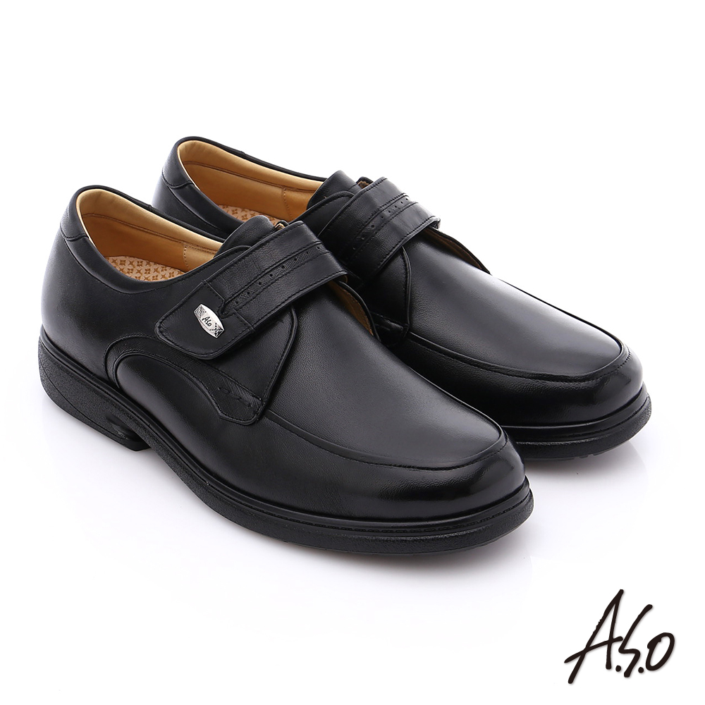 A.S.O 超能耐 魔鬼氈真皮寬楦奈米皮鞋 黑色