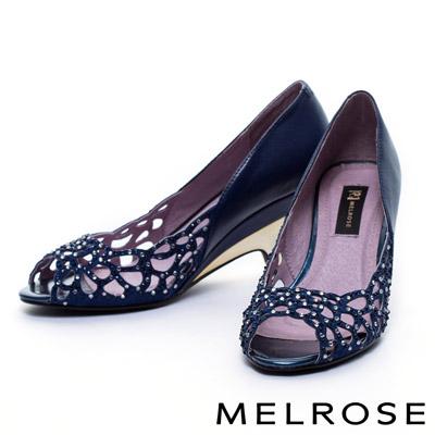 MELROSE-花瓣燙鑽造型拼接羊皮電鍍低跟魚口鞋