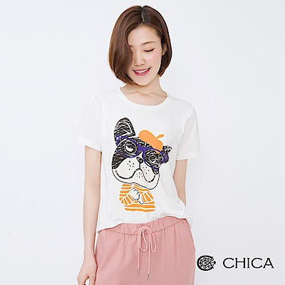 CHICA 偵探大頭狗圖騰純色設計上衣(3色)