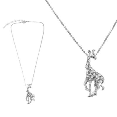 摩達客 金屬長頸鹿造型銀色項鍊