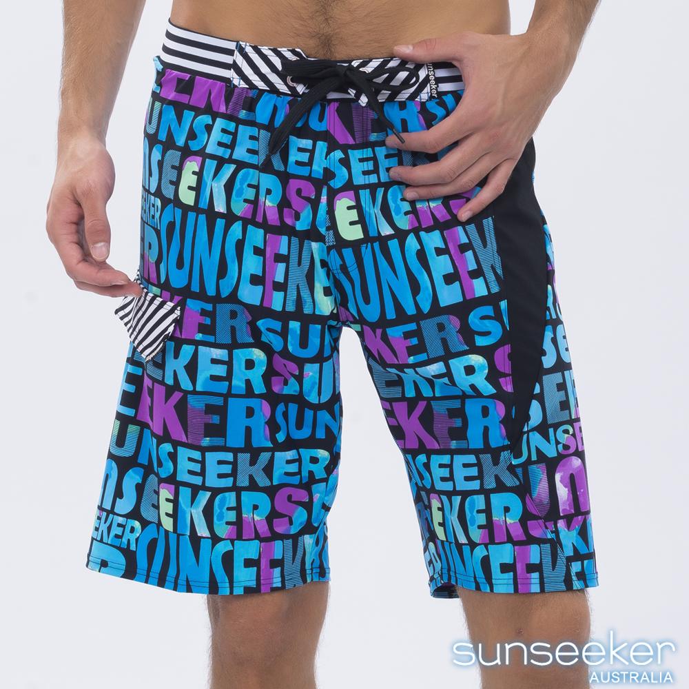 澳洲Sunseeker泳裝時尚男士快乾衝浪泳褲-字母藍