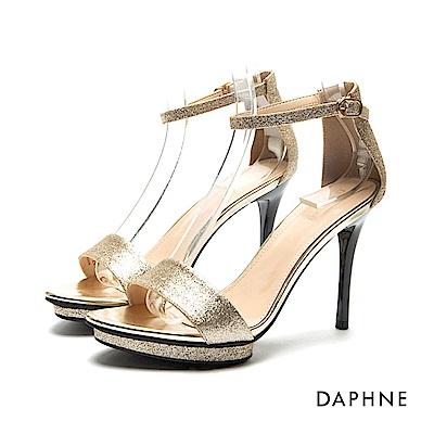 達芙妮DAPHNE 涼鞋-前高後高金蔥一字高跟涼鞋-金