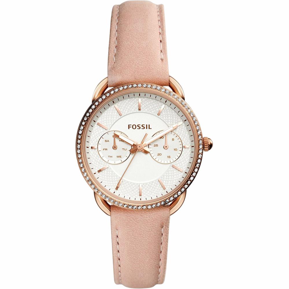 FOSSIL Tailor 優雅時代日曆女錶-玫塊金框x杏色錶帶/34mm ES4393