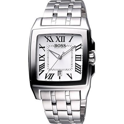 Hugo Boss 黑爵士羅馬復刻腕錶-銀白/38x40mm