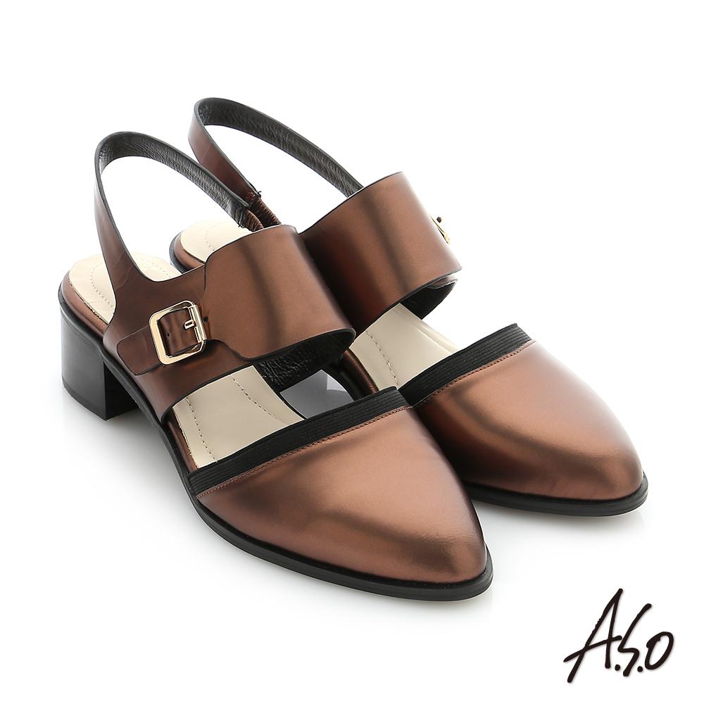 A.S.O 個性美型 鏡面羊皮尖頭低跟寬帶涼鞋 古銅色