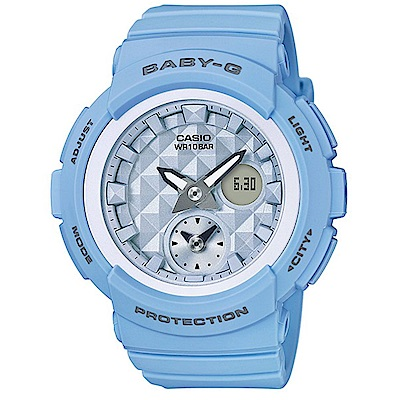 BABY-G立體鉚釘設計粉嫩春天氣息風格休閒錶( BGA-190BE-2A)/粉藍44mm