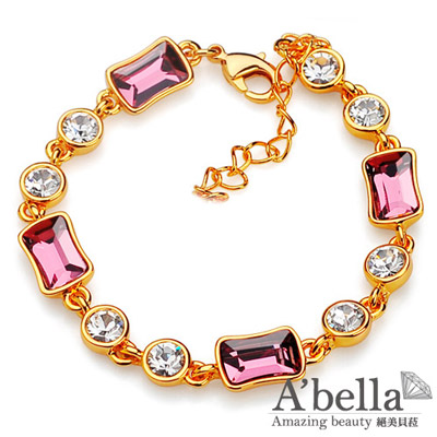 【A'bella浪漫晶飾】凌雲-古典粉紅水晶手鍊