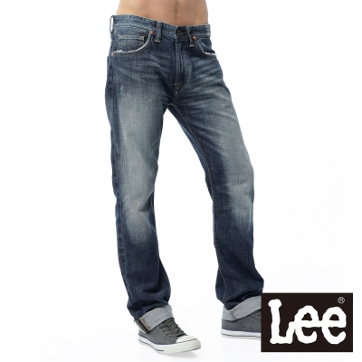 Lee 101+牛仔褲 724 中腰標準直筒-男款(中藍)