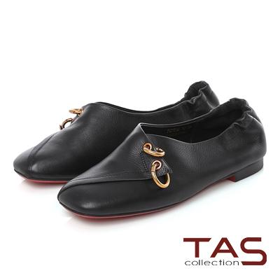 TAS 金屬雙環圓扣交疊方頭休閒鞋-百搭黑