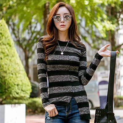正韓 不對襯拼接造型條紋針織衫 (黑色)-N.C21