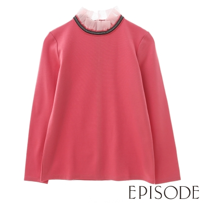EPISODE-氣質素色蕾絲領造型上衣(粉)