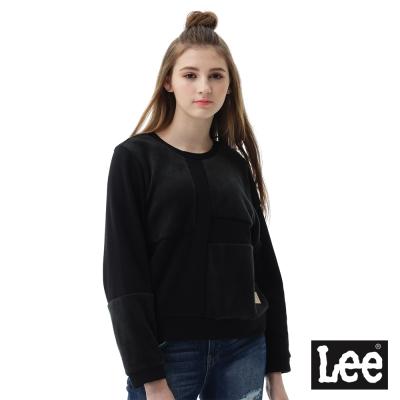 Lee 長袖厚T 圓領絨布拼接-女款-黑